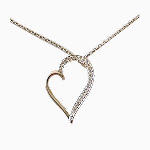 Necklace and Pendant 18k White Gold Heart with Diamonds