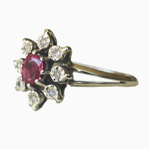Daisy Ring in 750/1000 Gray Gold with a Ruby and Diamonds