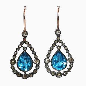 Boucles d'Oreilles Sleepers Or Rose 18k Topaze Argentée et Diamants Bleus, Set de 2