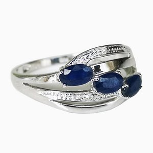 Ring-Shaped Bangle 18k Gold Sapphire and Diamond
