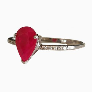 Bague or 750 18kt Pear Rubies and Diamonds