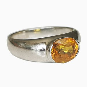 Silver Ring Decorated with Yellow Sapphire of 2.95 Karats