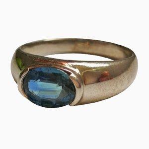 Silberner Ring mit Saphirglas verziert