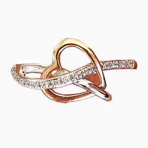 Yellow Gold Ring and Gold 18k Formed of Intertwined Hearts