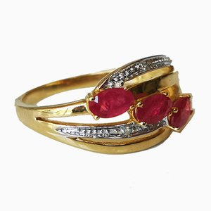 Gold Rush Ring 18k Yellow Rubies and Diamonds