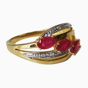 Gold Rush Ring 18k Yellow Rubies and Diamonds