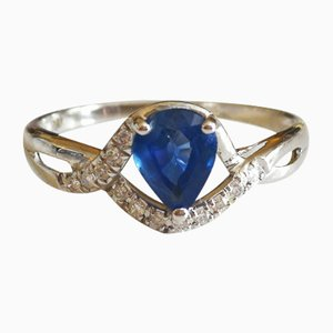 Yellow Gold Ring 750 18kt Pear Sapphire and Diamonds