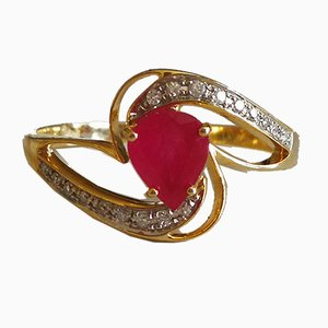Yellow Gold Ring 750 18kt Rubies and Diamonds