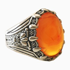 Signet Ring in Silver Carnelian Agate Approximately 12 Carats