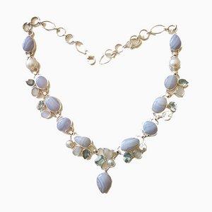 Silberne Halskette, Achat, Topas und Mondstein