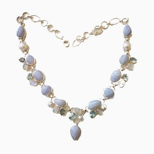 Silver Necklace, Agate, Topaz, and Moonstone