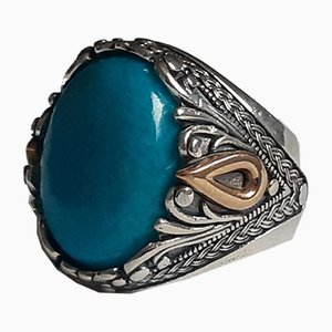Silver Signet Ring with a Large Cabochon Turquoise