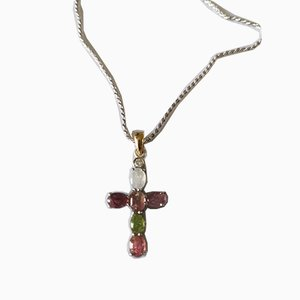 Cross Pendant in Gold, Silver, Tourmalines, and Diamonds