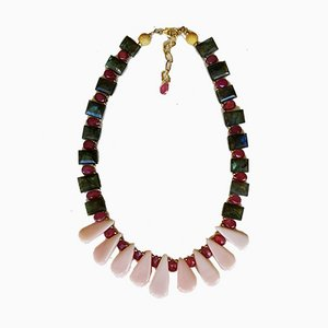 Silver Necklace Adorned with Pink Opals and Rubies Labradorites