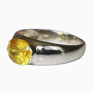 Sterling Silver Jonc Ring with Yellow Sapphire of 3.25 Karats