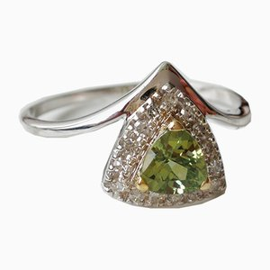 Gold Ring Sapphire Natural Green Troida and Real Diamonds