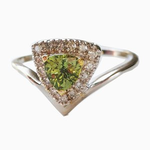 Bague en Saphir Vert Or et Diamant Naturel