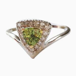 Ring in Gold with Natural Green Troida Sapphire and Real Diamonds