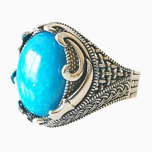 Turquoise Silver Signet Ring of About 12 Karats