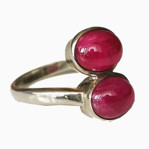 Silver Ring Decorated with Two Rubies