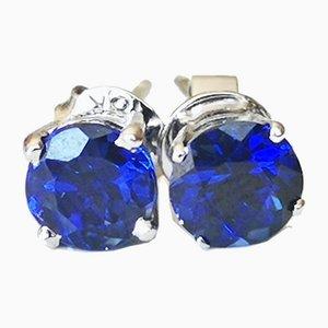 Boucles d'Oreilles Saphir Bleues Synthétiques en Or Gris, Set de 2