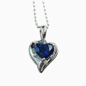 Pendant in White Gold 750 18kt Sapphire of 0.8kt & Diamond and Silver Chain