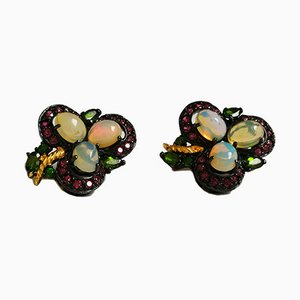 Earrings Adorned with Silver Opal Cabochon, Garnet & Rhodolites, Set of 2