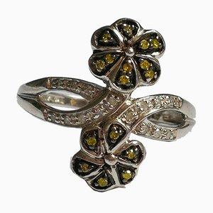 Bague en Argent Décoré de Motifs Floraux avec Diamants Verts