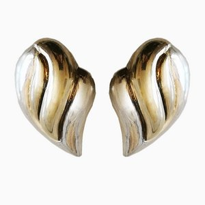 Clip Earrings Silver and Vermeil, Set of 2