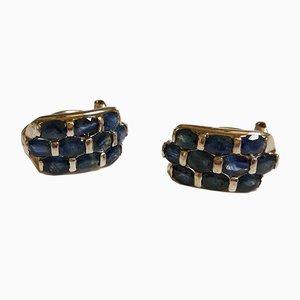 Ohrringe mit Silbernen Saphiren Ohrringen, 2er Set