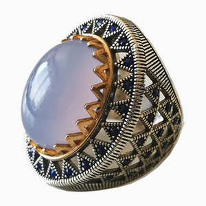 Silver and Blue Chalcedony Signet Ring