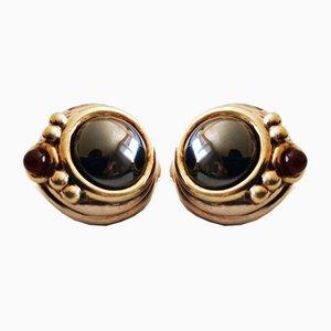 Boucles d'Oreilles en Argent, Vermeil Hematite & Small Ruby Cabochon, Set de 2