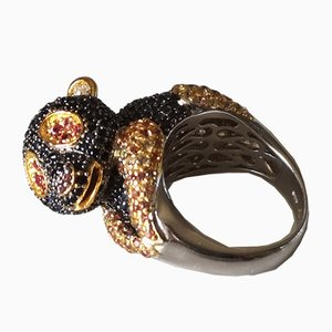 Silver Panda Ring with Diamonds and Multi Colored Sapphires