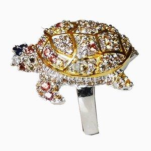 Bague Tortue en Argent 925/1000 Pavé de Diamants et Saphirs Multicolores