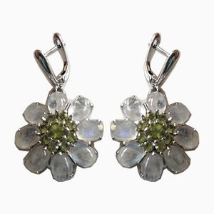 Silver Earrings Decorated with Cabochon Moonstones and Peridots, Set of 2