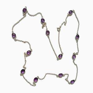 Halskette aus Silber und Amethyst