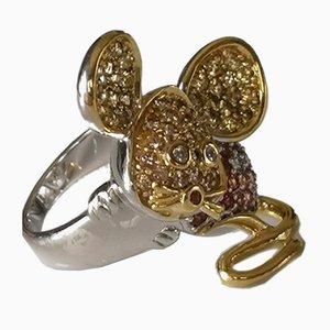 Ring in Silber und Vergoldeten 925/1000 Bunt Saphiren und Diamanten