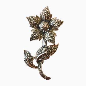 Große Silberne Blumen Brosche mit Markasiten verziert