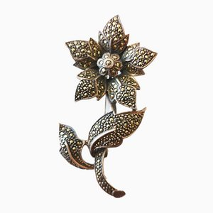 Large Silver Flower Brooch Decorated with Marcasites
