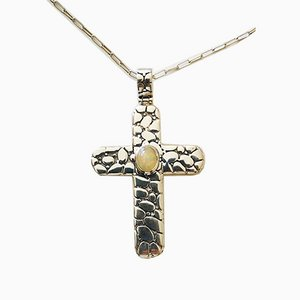 Large Cross Pendant and Silver Chain with Opal