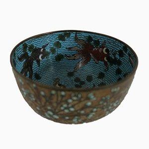 19th Century Cloisonné Bowl with Fish Decor