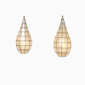 Metal and Parchment Hanging Lamps, 1970s, Set of 2