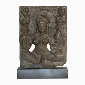 12th Century Indian Goddess Black Stone Sculpture, Rajasthan