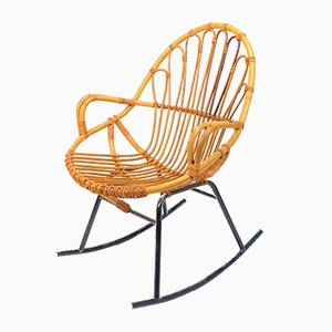 Mid-Century Rattan and Wicker Rocking Chair from Rohé Noordwolde, 1960s