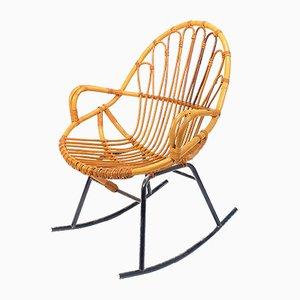 Rocking Chair Mid-Century en Rotin et Osier de Rohé Noordwolde, 1960s