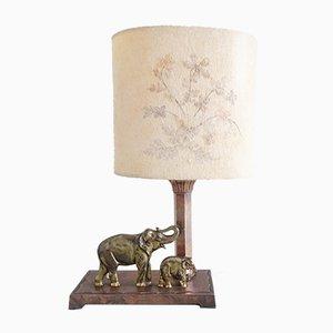 Lampe de Bureau Éléphant Mid-Century en Cuivre et en Laiton