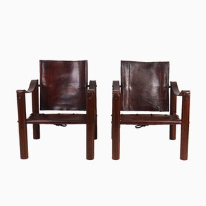 Vintage Art Deco Safari Lounge Chairs, Set of 2