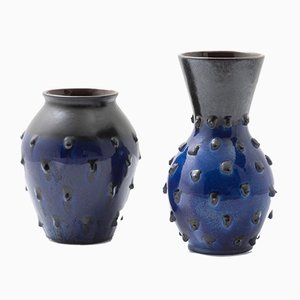 Mid-Century Deep Blue Vases, Germany, 1950s, Set of 2