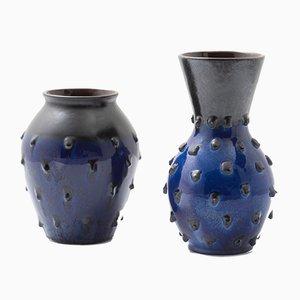 Mid-Century Vasen in Dunkelblau, Deutschland, 1950er, 2er Set