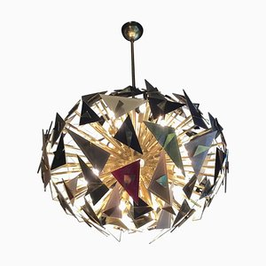 Vintage Handcraft Glass Triangles Chandelier, Italy, 1990s